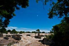 Khone Phapheng水秋天或湄公河南部的champasak的 免版税库存图片