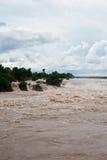 Khone Phapheng水秋天或湄公河南部的champasak的 库存照片