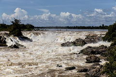 Khone Phapheng cade nel Laos Fotografie Stock Libere da Diritti