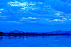 Khong river and blue sky before sunrise Royalty Free Stock Photo