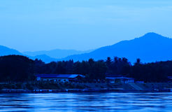 Khong river and blue sky before sunrise Stock Photo