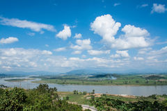 Khong river with bluesky ,Chiangsan in Chiangrai ,Thailand Royalty Free Stock Image