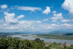 Khong river with bluesky ,Chiangsan in Chiangrai ,Thailand Stock Photos