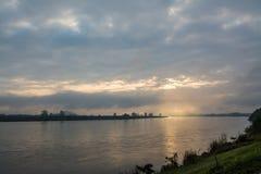 Khong river in the morning , Chiangrai ,Thailand Stock Image