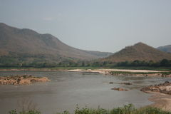 Khong River view. When water dawn in summer see rock and sand bank stock photo