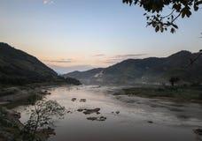 Khong rzeka w wieczór Obrazy Stock