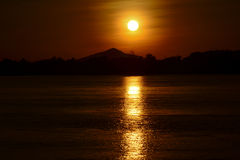 Khongrivier op zonsondergang Stock Fotografie