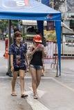 KhonKaen Songkran节日 泰国人和外国游人喜欢飞溅水 库存照片