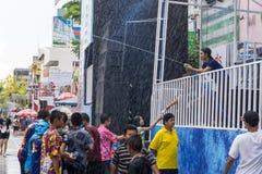 KhonKaen Songkran festival. Thai people and Foreign tourists enjoy splashing water. KHONKAEN THAILAND APRIL 13,2017 : KhonKaen Songkran festival. Thai people royalty free stock image