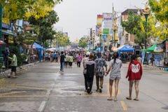 KhonKaen Songkran festival. Thai people and Foreign tourists enjoy splashing water. KHONKAEN THAILAND APRIL 13,2017 : KhonKaen Songkran festival. Thai people stock photography