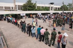 Thai people stand in row for Pre-election at Khonkaen, Thailand royalty free stock photo