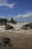 Khonprapeng water fall or mekong river in champasak southern of Stock Image