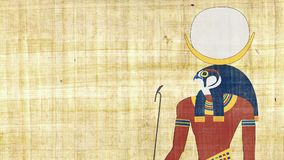 Khonsu египетский бог луны на предпосылке папируса акции видеоматериалы