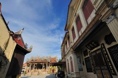 Leong San Tong Khoo Kongsi. The Khoo Kongsi is a large Chinese clanhouse with elaborate and highly ornamented architecture, a mark of the dominant presence of royalty free stock images
