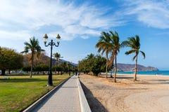 Khor Fakkan, Ηνωμένα Αραβικά Εμιράτα - 16 Μαρτίου 2019: Δημόσια παραλία Fakkan Khor στο εμιράτο της Σάρτζας στα Ηνωμένα Αραβικά Ε στοκ φωτογραφίες