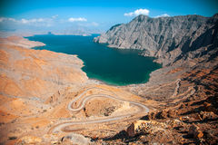 Khor Najd, фьорд в полуострове Musandam, Омане Стоковая Фотография