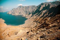 Khor Najd, фьорд в полуострове Musandam, Омане Стоковое Изображение RF