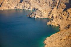 Khor Najd, een fjord in Musandam-schiereiland, Oman Royalty-vrije Stock Foto
