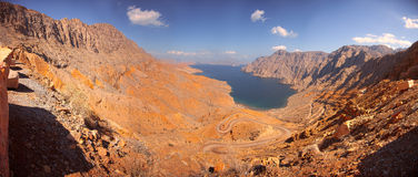 Khor Najd, ein Fjord in Musandam-Halbinsel, Oman Lizenzfreie Stockbilder
