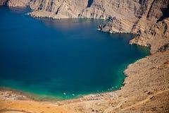 Khor Najd, ein Fjord in Musandam-Halbinsel, Oman Stockfotografie
