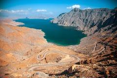 Khor Najd, en fjord i den Musandam halvön, Oman Arkivbild