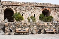 Famous Khor Virap Monastery on Armenia-Turkey Border near Ararat Mountain, Armenia. Khor Virap, Armenia - March 16, 2018: Famous Khor Virap Monastery on Armenia royalty free stock images
