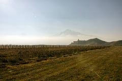 Great Ararat,  Khor Virap Monastery. The Khor Virap Armenian: Խոր Վիրապ, meaning `deep dungeon` is an Armenian monastery located in the Ararat plain in Stock Photos