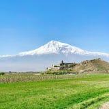 Khor Virap, Armenian monastery in Ararat plain in Armenia, near Mount Ararat. It was residence of Armenian Catholicos. The Khor Virap, Armenian monastery in Royalty Free Stock Image