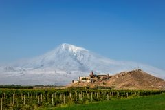 Khor Virap church with Ararat Mountain in the background, Armenia. View of Khor Virap church with Ararat Mountain in the background, Armenia royalty free stock images