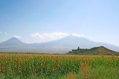 Khor Virap Church and mountain Ararat. Ancient Khor Virap church and mountain Ararat, Armenia Royalty Free Stock Photography