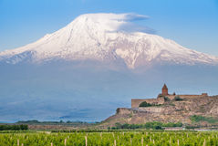 Khor Virap ed il monte Ararat Fotografia Stock