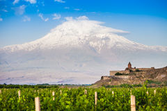 Khor Virap ed il monte Ararat Fotografie Stock