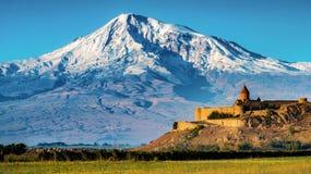 Khor Virap kloster och Mt Ararat Armenien royaltyfria foton