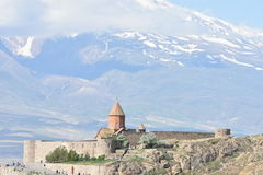 Khor Virap Monaster, ΑΜ Ararat, Τουρκία Στοκ φωτογραφία με δικαίωμα ελεύθερης χρήσης