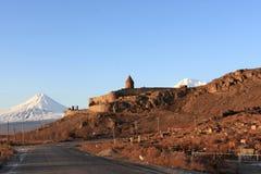 Khor Virap monastery and Ararat. View on Khor Virap monastery and Ararat Royalty Free Stock Photography