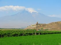 Khor Virap monastery with Ararat in the background Stock Photos