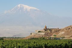 Khor Virap monastery, Armenia, with Mount Ararat in background Stock Images