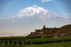 Khor Virap monastery seen with Mt Ararat. Khor Virap monastery in Armenia seen with Mt Ararat in Turkey Stock Images