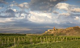 Khor Virap Monastery in a landscape of Armenia. With mount Ararat behind in a cloud Royalty Free Stock Photos