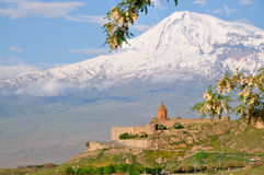 Khor Virap monastery and Mount Ararat, Armenia. The Khor Virap is an Armenian monastery , located in the Ararat plain in Armenia, near the Turkey border Stock Images