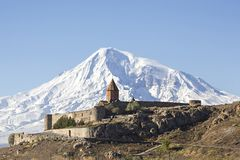 Khor Virap Monastery and Mt Ararat in Armenia. Khor Virap Monastery with Mount Ararat, Armenia Royalty Free Stock Images