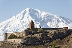 Khor Virap Monastery and Mt Ararat in Armenia. Khor Virap Monastery with Mount Ararat, Armenia Royalty Free Stock Photos