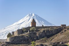 Khor Virap Monastery and Mt Ararat in Armenia. Khor Virap Monastery with Mount Ararat in the background, Armenia Royalty Free Stock Images