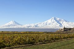 Khor Virap Monastery and Mt Ararat in Armenia. Khor Virap Monastery with two peaks of the Mount Ararat in the background, Armenia Royalty Free Stock Image