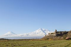 Khor Virap Monastery and Mt Ararat in Armenia. Khor Virap Monastery with two peaks of the Mount Ararat in the background, Armenia Royalty Free Stock Photo
