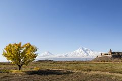 Khor Virap Monastery and Mt Ararat in Armenia. Khor Virap Monastery with two peaks of the Mount Ararat in the background, Armenia Stock Image