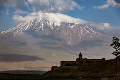 Khor Virap monastery seen with Mt Ararat. Khor Virap monastery in Armenia seen with Mt Ararat in Turkey Stock Photos