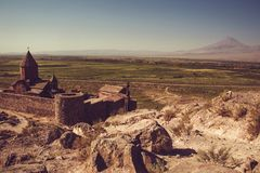 Khor Virap Monastery top view. Mountain Ararat on background. Exploring Armenia. Armenian architecture. Tourism and travel concept. Religious landmark. Tourist Stock Photography