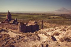 Khor Virap Monastery top view. Mountain Ararat on background. Exploring Armenia. Armenian architecture. Tourism and travel concept. Religious landmark. Tourist Royalty Free Stock Photos