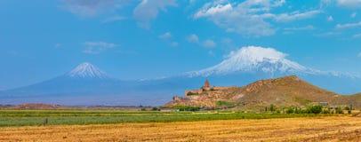 Khor Virap and Mount Ararat. Grape field in Ararat valley. View of Khor Virap and Mount Ararat Stock Photos